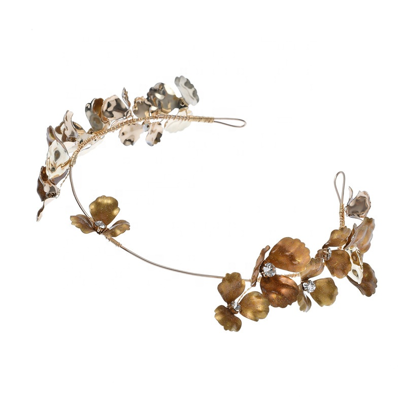 Handmade Retro Gold Flowers Rhinestones Hairband