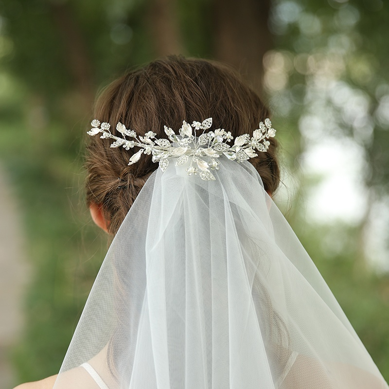 Handmade Silver Rhinestones Leaves Bridal Hair Clips
