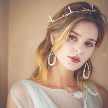 Handmade Simple Gold Leaf Vine Fancy Headband Pearls Circle Earrings Wedding Jewelry Set