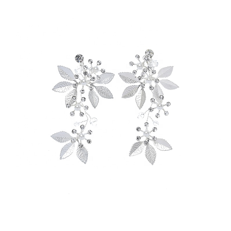 New Fashion Unique Design Metal Leaf Crystal Women Jewelry Set for Wedding