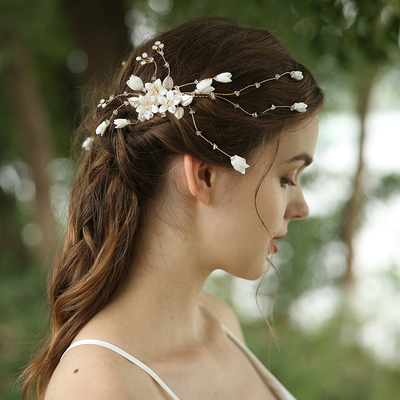 Korea Style Design Handmade Cubic Zirconia Flower Wedding Hair Comb Jewelry Set